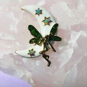 Moon Fairy Brooch Mythical Pin Enamel Crystal Jewe